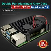For Raspberry Pi 4B Protect Box CNC Aluminum Alloy Case Enclosure w/ Cooling Fan