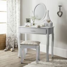 Bedroom Makeup Desk Dressing Chic White Table Vanity Mirror Wooden Drawer Stool