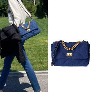 3 Sz Quilted Denim Gold/ Silver Chain Shoulder Bag Purse Baguette Flap Crossbody