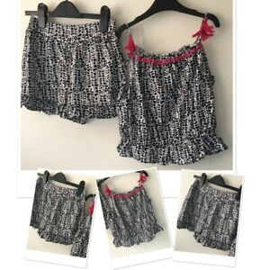 George girls summer patterned shorts & Strappy top set 7-8 years