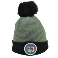 NHL New York Rangers Cuffed Gray Black Pom Pom Knit Beanie Toque Hat NY Hockey