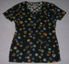 "Women's Cherokee Scrub Top XS #3795 Black ""Dots So Wild"" Fun  Animal Print"