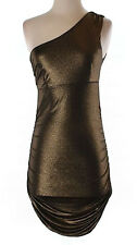 Forever 21 One Shoulder Bronze Ruched Clubbin Cocktail Dress Medium M 7 9