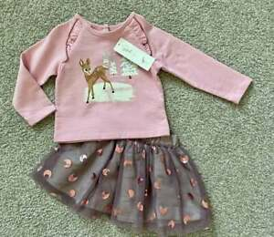 Peek NWT Infant Baby Girl Woodland Outfit Skirt Sparkles Holiday Winter 12-18m