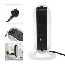 More details for 5 way surge protected rotating lead socket plug with 2 usb port tower extension