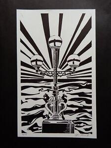 Original Limited edition lino-cut Trefechan lamp Aberystwyth Sun rays & Sea 3/10