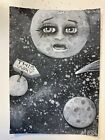 ACEO Landscape Outer Space Full Moon Lost Planet Sign Original Motyl Painting