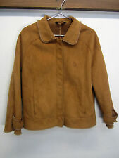 vtg Baby Phat Faux Suede Leather Jacket Shearling full zip brown sz L EUC!