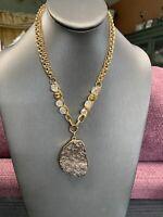 "Women's Ladies Necklace Gold Time Lucite Druzy Grey Cabochon  Statement 16"""