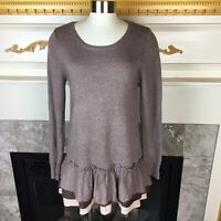 MYSTREE Anthropologie S Brown Tan Layered Ruffled Cashmere Blend Tunic Sweater