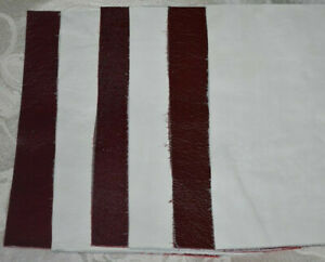 Scrap Leather Genuine cowhide  Dark Red and White 6 pieces 8x6 inch. New
