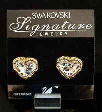 SWAROVSKI GOLD EARRINGS HEART WITH PAVE CRYSTAL CLIP *NEW*