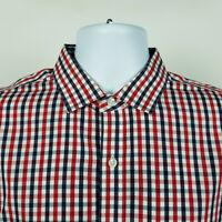 J.Crew Slim Non Iron Mens Red Blue Plaid Check Dress Button Shirt Size Large L