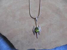 """Sterling Necklace 15 1/2"""" Navajo Peridot & Sterling Silver Pendant on"""