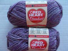 Red Heart Stardust sparkly wool blend sock yarn, Purple, lot of 2 (191 yds each)