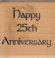 """anniversary 25 stamps in motion Wood Mounted Rubber Stamp 2 x 2""""  free ship"""