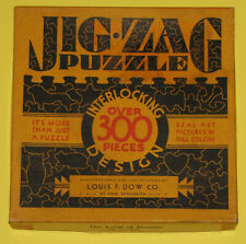 """VTG JIG-ZAG PICTURE PUZZLE JIGSAW """"THE LAND OF PROMISE"""" SHIP COLONIAL FUN SHAPES"""