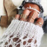 7Pcs/Set Women Boho Gold Above Knuckle Finger Ring Fashion Midi Ring Jewelry New