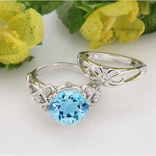 1.50 Ct Aquamarine & Diamond Real 10k White Gold Engagement Ring Bridal Set