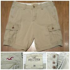 Hollister California 6 Pocket Cargo Shorts Khaki Beige Button Fly Men's Size 30