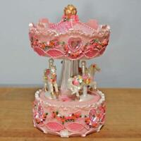 Baby Girl Pink Musical Carousel With Horses And Hearts Music Box Nursery Room