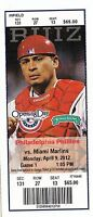 2012 PHILADELPHIA PHILLIES VS MIAMI MARLINS OPENING DAY TICKET STUB 4/9/12