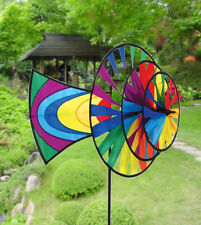 Rainbow Directional Triple Fans Staked Wind Spinner with Pole & Mount SKYD-01610