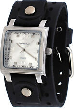 Nemesis B516S Men's Black Wide Leather Cuff Band Square Silver Dial Watch