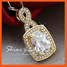 9K GOLD FILLED 8CT EMERALD SHAPE DIAMOND BRIDAL SOLID NECKLACE PENDANT XMAS GIFT