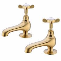 Brass Basin Pillar Tap Classic Bathroom Cock Hot Sink Cold Bath tub Taps, 1 Pair