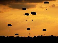 MILITARY ARMY PARACHUTE SILHOUETTE DROP AIRBORNE POSTER ART PRINT BB1258A