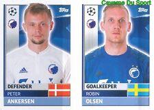 QFD3 ROBIN OLSEN PETER ANKERSEN FC.KOBENHAVN STICKER CHAMPIONS LEAGUE 2017 TOPPS