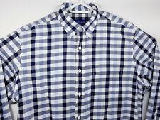 Pendleton Mens Large Shirt Button Up Long Sleeve 100% Cotton Blue Plaid