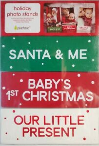 Pearhead Babys First Christmas Wooden Holiday Christmas Photo Frame Stands