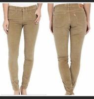 New Levi's 711 Skinny Corduroy Pants Jeans 25x29 Tan Beige Irregular