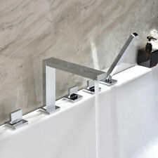 Modern Bathroom Deck-Mount Roman Tub Faucet in Polished Chrome with Hand Shower