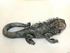 More details for large iguana ornament (42cm long ) silver + black finish *new* boxed