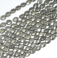 """8X6MM PYRITE GEMSTONE FACETED OVAL LOOSE BEADS 15.5"""""""
