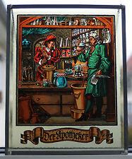 "Älteres massives Fensterbild Bleiverglast "" Der Apotheker "" !!! TOP !!!"