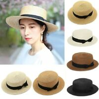Womens Summer Beach Holiday Straw Bowler Boater Flat Cap Wide Brim Sun Visor Hat