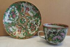 Chinese Cup & Saucer 19th Century  Export Porcelain Rose Medallion Antique