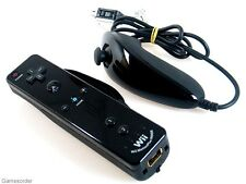 ORIGINAL NINTENDO Wii + U Remote MOTION PLUS INSIDE + NunChuk Controller SCHWARZ