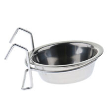 Bird Feeder Parrot Food Water Bowl Stainless Steel Hanging Cup Silver