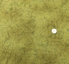 Leaves outlines in gold on green fabric fq 50x56 cm EB11365 100% Cotton