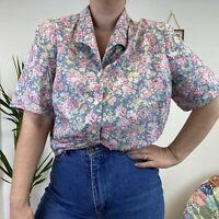 Vintage St Michaels Floral Short Sleeve Shirt Blouse Cottagecore Style Sz 18 20