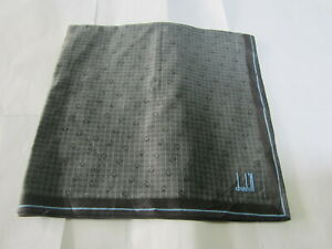 "USED DARK GRAY PLAID PATTERN COTTON 18"" POCKET SQUARE HANDKERCHIEF HANKY FOR MEN"