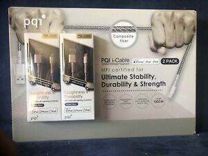 PQI I CABLE FOR IPHONE IPAD IPOD 2 Pack USB CABLE LIGHTNING CONNECTOR 100 CM