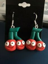 Cherry Earrings, Poymer Clay Cherries, Sterling Silver hooks - Only 1 available!