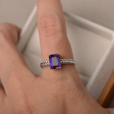 14K Solid White Gold 1.43 Ct Natural Diamond Emerald Real Amethyst Ring Size N L