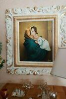 quadro olio su tela CAPEZZALE CORNICE IN LEGNO AVORIO FOGLIA ORO CLASSICO barocc